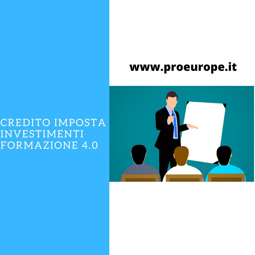 CREDITO IMPOSTA INVESTIMENTI FORMAZIONE 4.0